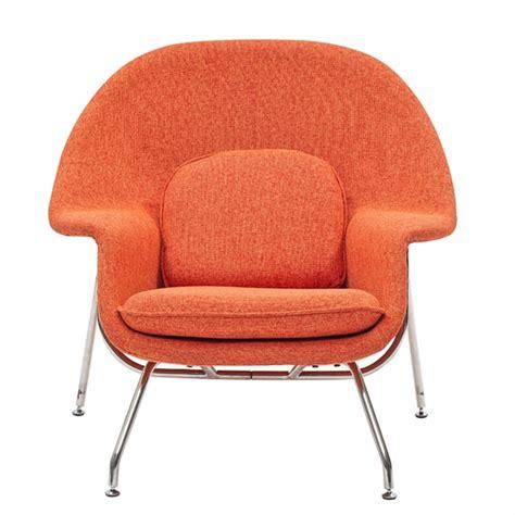 womb lounge chair and ottoman orange tweed wool
