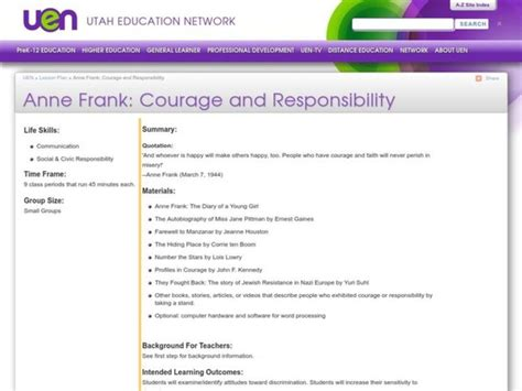 Courage And Responsibility Lesson Plan For 6th