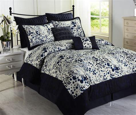 splash blue white 8pc comforter set print microfiber navy
