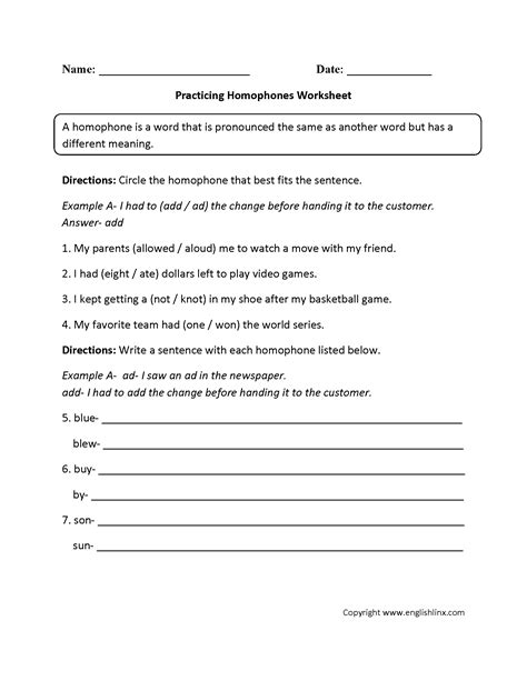 Homonym Worksheets For 3rd Grade  Vocabulary Worksheets Homophone Worksheetshomophone