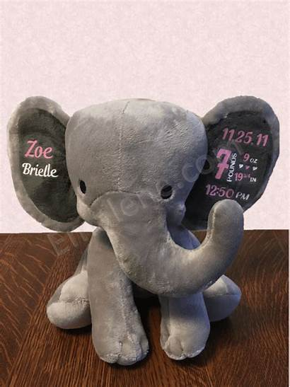 Elephant Personalized Stuffed Keepsake Pink Weight Gift