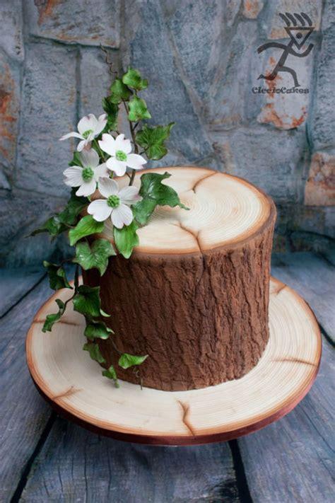 Kuchen Aus Holz realistic wood effect cake with sugarpaste dogwood