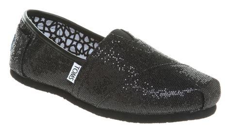 womens toms glitter espadrille black glitter flats shoes