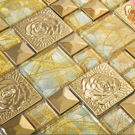 tile kitchen backsplashes gold 304 stainless steel flower patterns mosaic glass wall
