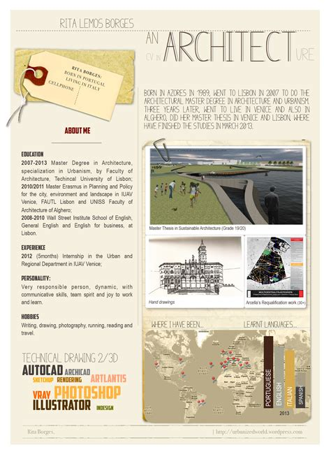 Architecture Resume About Me by Creative Cv In Architecture Urbanizedworld
