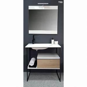 Meuble Salle De Bain Style Industriel : vente de meuble de salle de bain 80 cm tig style industriel ~ Melissatoandfro.com Idées de Décoration