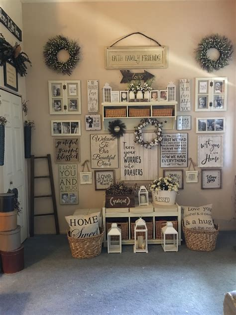 Enhance your rustic look even more with statement pieces. Idea by Tina Laskey on Farmhouse gallery wall   House decor rustic, Family wall decor