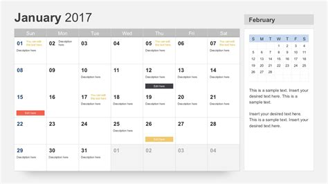 calendar template for powerpoint free calendar 2017 template for powerpoint