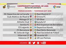 Calendario de la Liga 20172018 Futbol de Primera