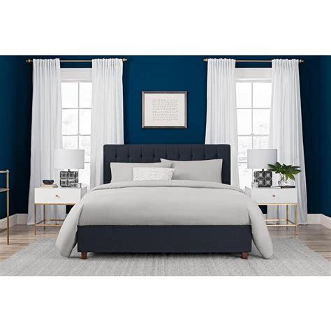 37417 inspirational button bed frame dhp emily blue upholstered linen size bed frame