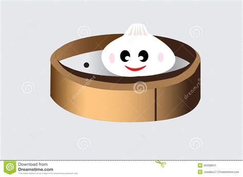 Steamed Bun In Bamboo Dish Stock Illustration