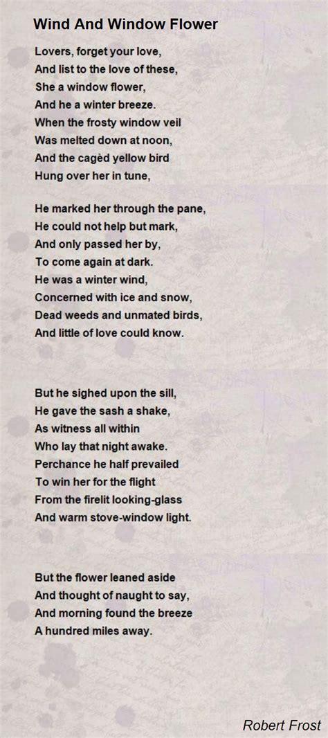 wind  window flower poem  robert frost poem hunter