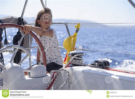 Girls On Boats by Young Girl Sailing Boat Stock Photography Image 34497512