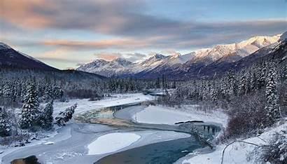 Alaska Winter Snow River Landscape Mountain Forest
