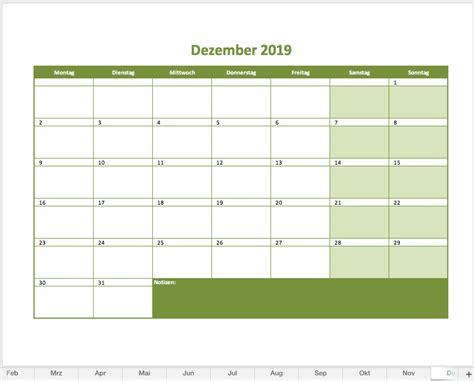 monatskalender als excelvorlage