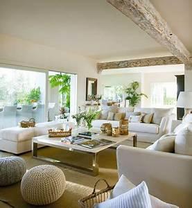 Salon Cuir Blanc : salon moderne avec peinture couleur lin et canap cuir blanc ~ Teatrodelosmanantiales.com Idées de Décoration