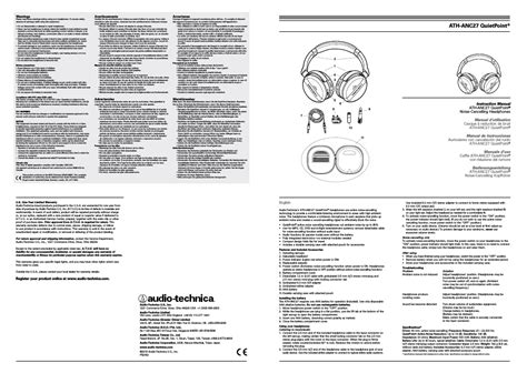 audio technica quietpoint ath anc27 user manual 2 pages
