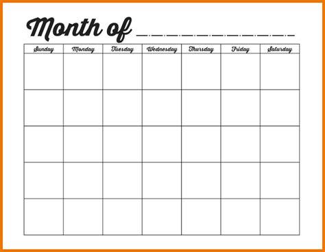 Blank Monthly Calendar Template Printable 4 Month Calendar Template Autos Post