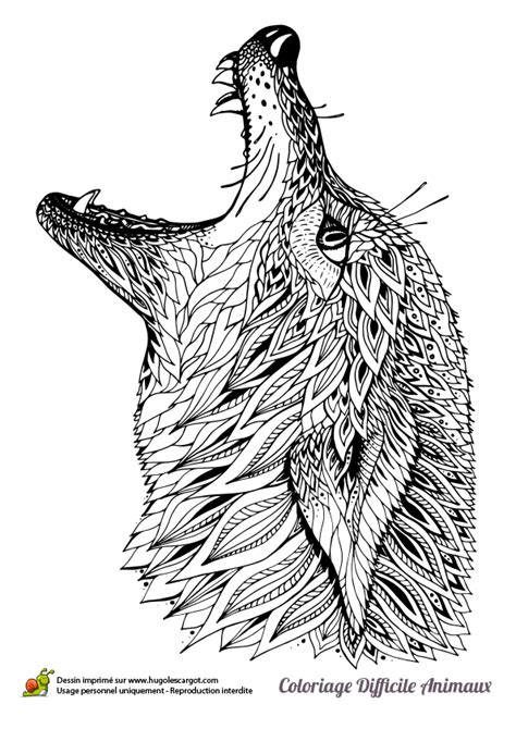 Coloring page of a wolf's head | Animal Coloring Pages for