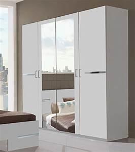 Armoire Chambre Blanche : armoire 4 portes anna chambre coucher blanc ~ Teatrodelosmanantiales.com Idées de Décoration
