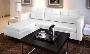 Salon Cuir Blanc : canape de salon en cuir blanc ~ Teatrodelosmanantiales.com Idées de Décoration