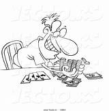 Poker Coloring Cartoon Outline Taking Winnings Toonaday Comptons Jeu Enchainement sketch template