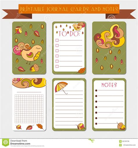 printable notes journal cards  autmun illustrations