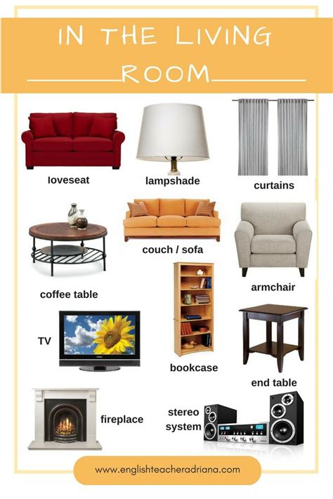 Living Room Vocabulary With Pictures by Esl For Learning And Mastering Fluency