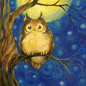 Owl In Starry Night Painting by Peggy Wilson