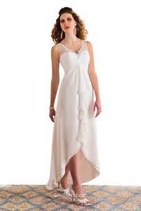 wedding dresses high low simple v neck sleeveless high low lace chiffon wedding dress groupdress