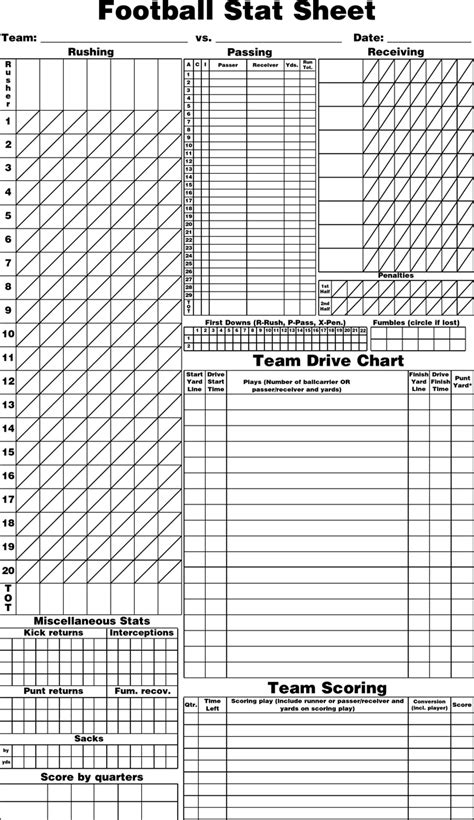 blank football stat sheet  kb  pages