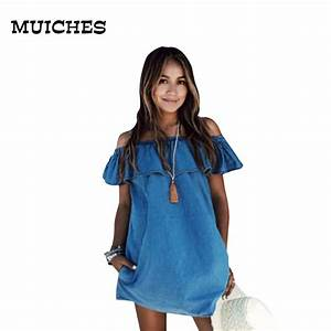 MUICHES2017 vintage Women Frilly Elegant Jeans Dress off the shoulder Casual Blue short Womenu0026#39;s ...