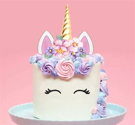 Unicorn Garden Decoration by Large Unicorn Gold Horn Pink Flowers Edible Cake Topper