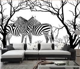 Papier Peint Arbre Noir Et Blanc : personnalis zebra papier peint noir et blanc anaglyphe arbre abstrait z bre peintures murales ~ Nature-et-papiers.com Idées de Décoration