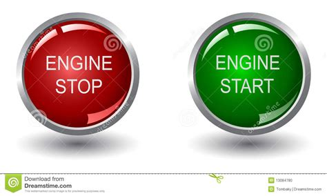 Engine Stop And Start Buttons Stock Vector