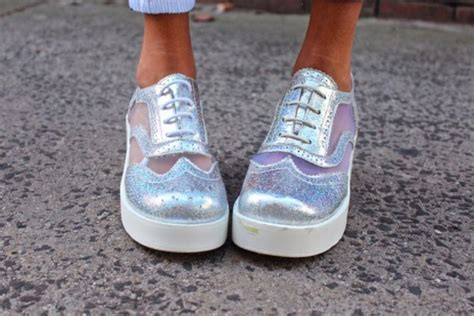 Shoes, Oxfords, Silver, Net, Sparkle, Shiny, See Through