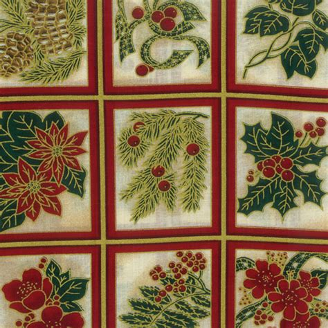 christmas flowers cream fabric panels