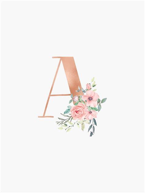 letter  monogram rose gold pink flowers sticker  kacao redbubble