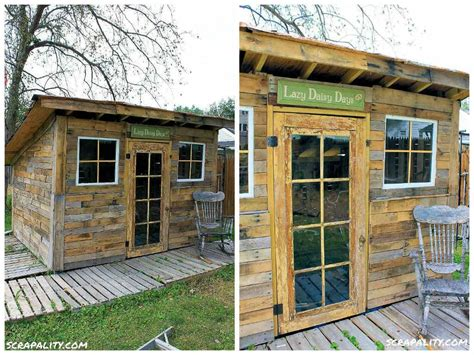 pallet garden shed roofed  tin cans pallet ideas