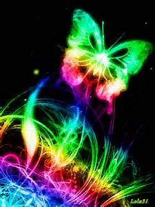 Colorful neon butterfly Neon Pinterest
