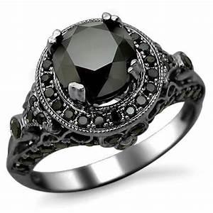 14k Black Gold Round Black Diamond Engagement Ring ...