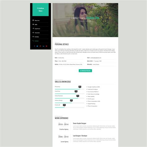 Resume Html Template by Swiftly Resume Html Template Codester