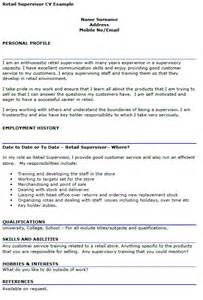 retail supervisor description resume retail supervisor cv exle cover letters and cv exles