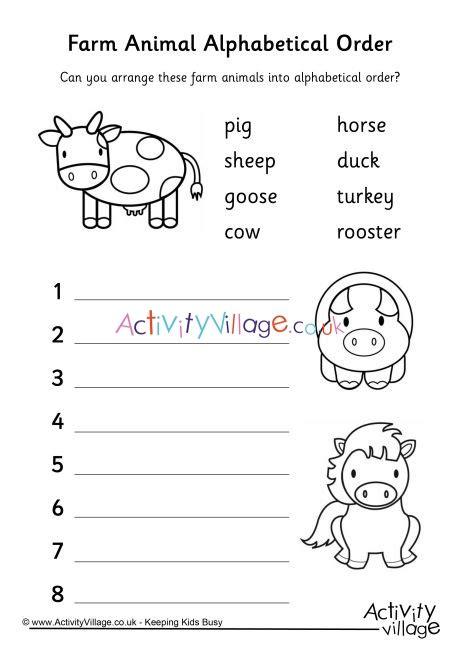 farm animal alphabetical order