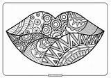 Lips Coloring Printable Zentangle Pdf Whatsapp Tweet Email sketch template