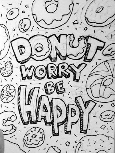 Donuts Kleurplaat Hapy Birthday by Day 24 Donut Worry Be Happy Drawing A Day Challenge