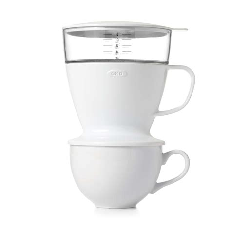 Also bring your filtered water to a boil (add slightly more water to the pot (~600 ml) as you'll need a little extra to wet your filter — see next step). Pour-Over Coffee Dripper with Water Tank OXO Good Grips 12oz 355ml - Espresso Planet Canada