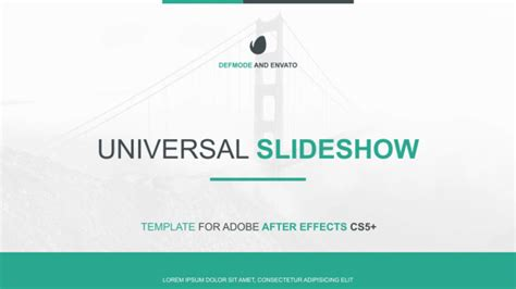 After Efects Universal Template by Universal Slideshow Presentation Corporate After Effects