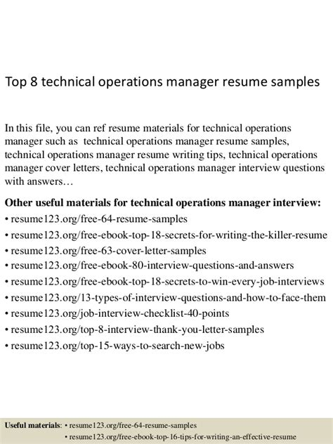 top 8 technical operations manager resume sles