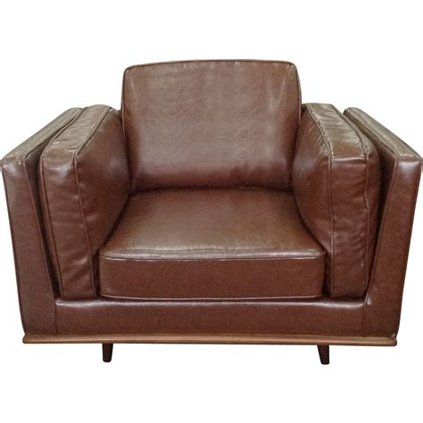 Buy Leather Armchair by York Pu Leather Sofa Armchair W Wooden Legs Brown Buy